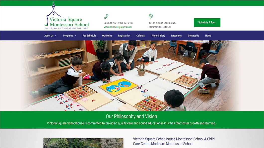 Montessori School Website Design